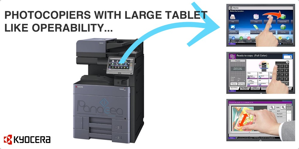 Photocopier with large tablet