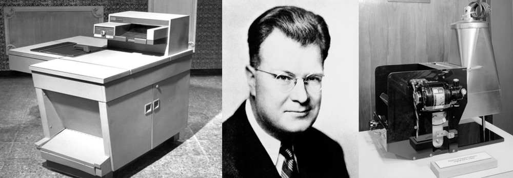 Chester Carlson and two very old photocopiers